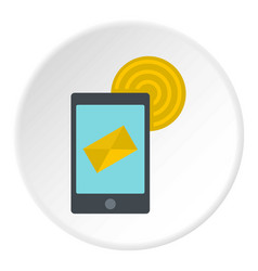 Smart phone sending email icon circle vector