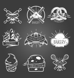 Bakery monochrome labels vintage style vector