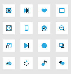 Music colorful icons set collection of decrease vector
