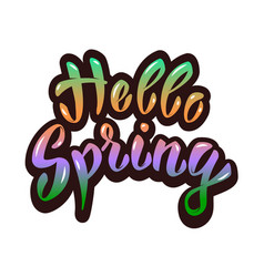 Hello spring hand lettering phrase design element vector