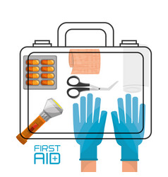 Hand with suitcase first aid kit with medical vector