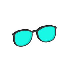 Cyan glasses eyeglasses symbol flat isometric vector