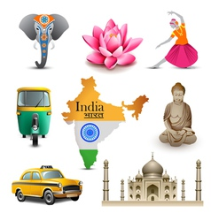 India travel set icons vector