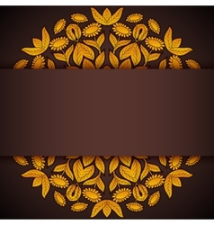 Gold and brown round sunflowers invitation vector image