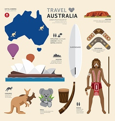 Travel concept australia landmark flat icons vector