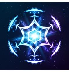 Blue shining cosmic abstract snowflake vector image