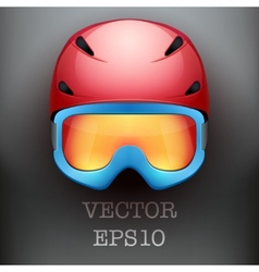 Background of classic ski helmet and snowboard vector