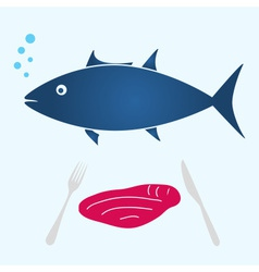 Big tuna fish and tuna meat food eps10 vector