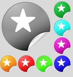 Favorite star icon sign set of eight multi-colored vector