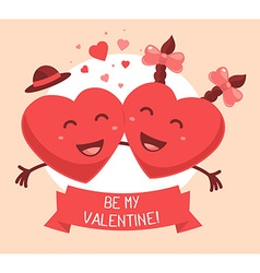 Two red smiling hearts with ribbon and te vector