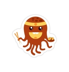 Stylish paper sticker on white background octopus vector