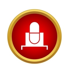 Retro microphone icon in simple style vector