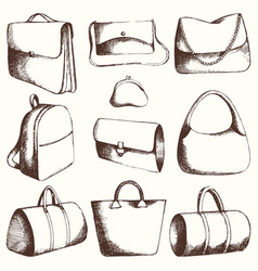 Bags set hand drawing vector