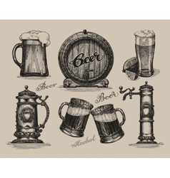 Beer set Sketch elements for oktoberfest festival vector image