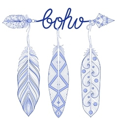 Blue bohemian arrow amulet letters boho with vector
