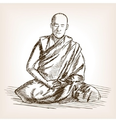 Buddhist monk sketch style vector image