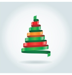 Christmas card with ribbon tree vector image
