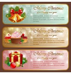 Christmas vintage horizontal banner vector image vector image