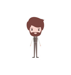 Colorful caricature groom man bearded in wedding vector