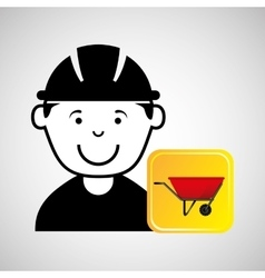 construction worker wheelbarrow graphic vector image