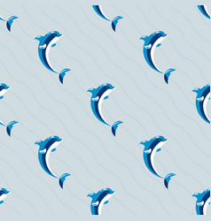 Cute dolphins aquatic marine nature ocean seamless vector