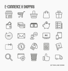 e-commerce shopping thin line icons set vector image vector image