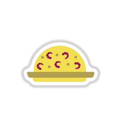 Fried rice with shrimp sticker vector