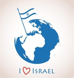 Globe icon with israel flag vector