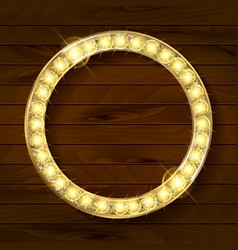 Gold round frame on wooden background vector