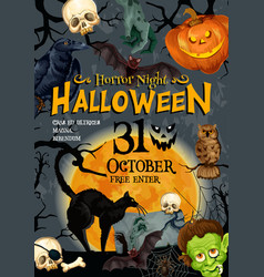 halloween party monster night poster vector image