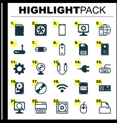 Hardware icons set collection of portable memory vector
