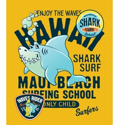 Hawaii shark surfing school vector