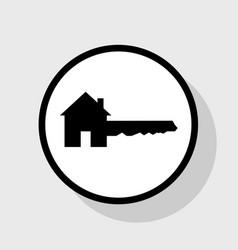 Home key sign flat black icon in white vector