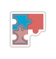 In paper sticker style puzzles vector
