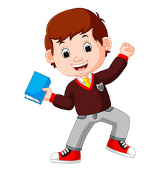 kids boy carrying book cartoon vector image vector image