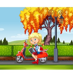 Little girl and motorcycle in the park vector