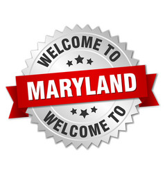 Maryland 3d silver badge with red ribbon vector