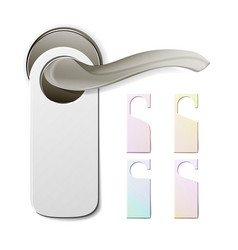 Metal door handle lock with hanger hostel hotel vector