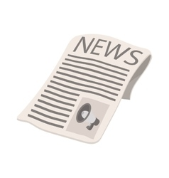 Newspaper icon megaphone on cover cartoon vector image