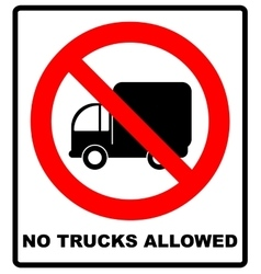 No trucks allowed sign isolated against a white vector