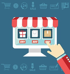 Online shopping process website item buy click pay vector