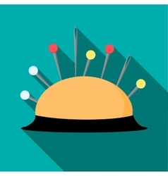 Pincushion with pins icon flat style vector