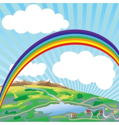 Rainbow above earth vector
