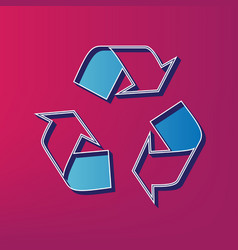 Recycle logo concept blue 3d printed icon vector