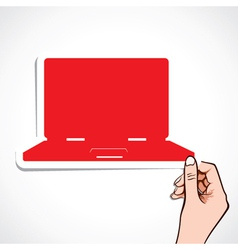 red laptop sticker in hand vector image vector image