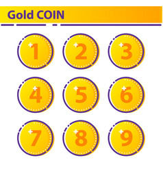 Set gold coin icon vector