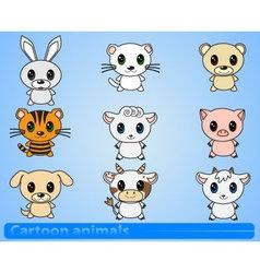 set of cartoon animals vector image vector image