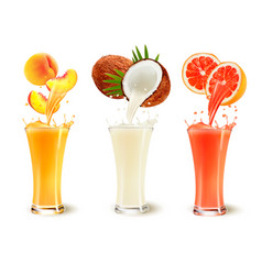 Set of fruit juice splash in a glass peach vector