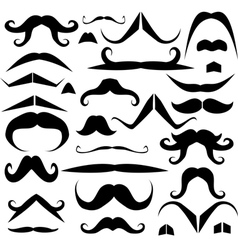 Set of mustaches for fun vector image vector image