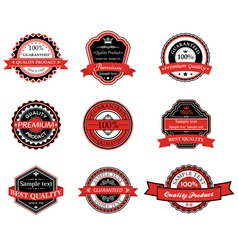 Set of retro labels in black and red colors vector image
